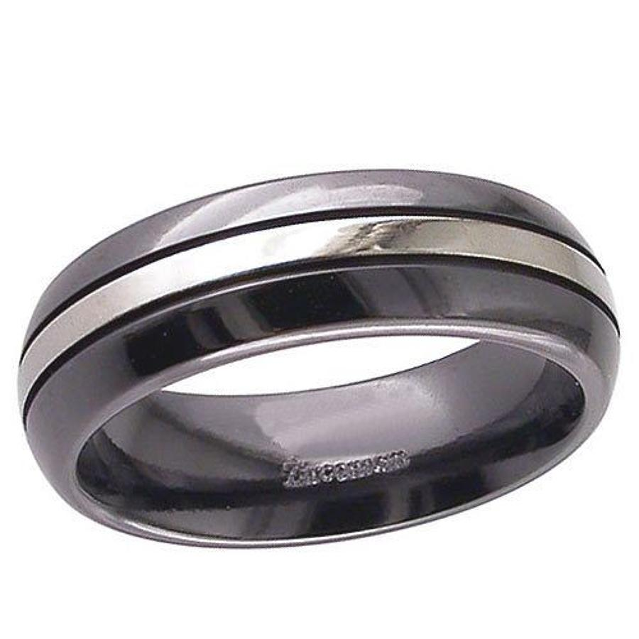 Domed, Tri-Stripe Zirconium Ring