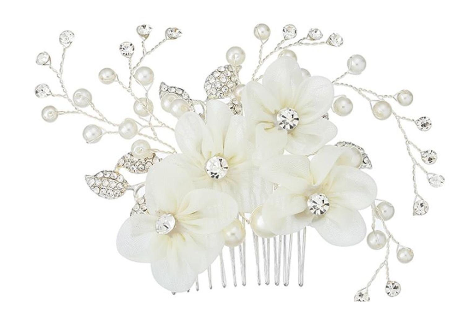 Cream Ribbon Flower & Crystal Hair Comb