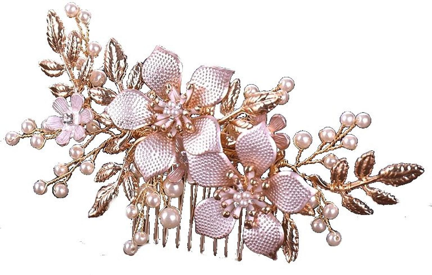 Rose & Yellow Gold Plated Flower Hair Comb