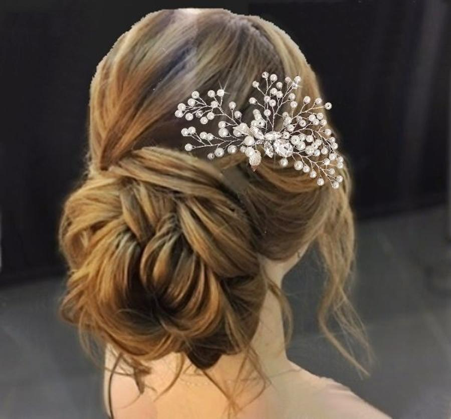 Cascading Pearls & Crystal Hair Comb