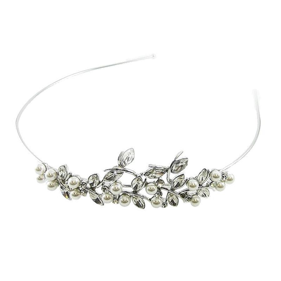 Marquise Crystal & Pearl Side Head Band