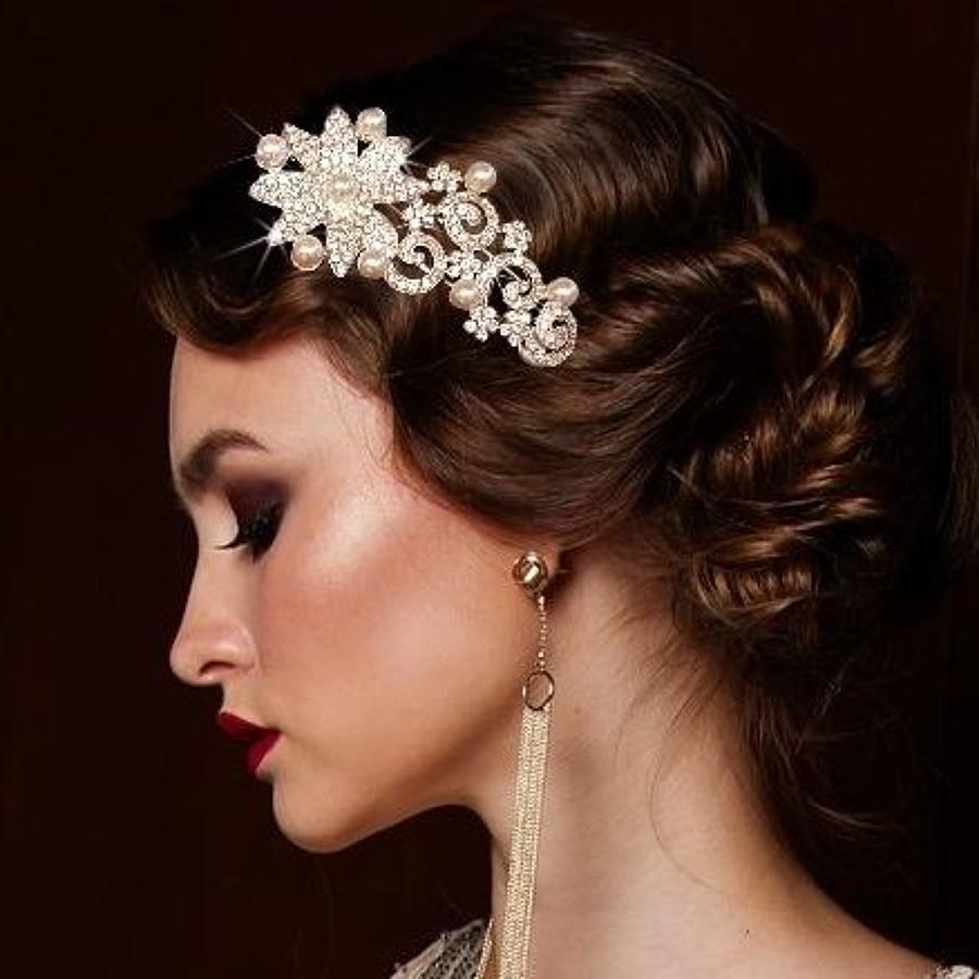 Crystal Flower/Swirl & Pearl Side Head Band