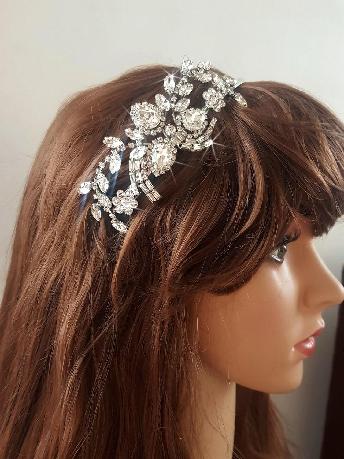Marquise Design Crystal Side Head Band