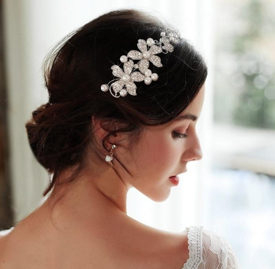 Flower & Pearl Side Head Band