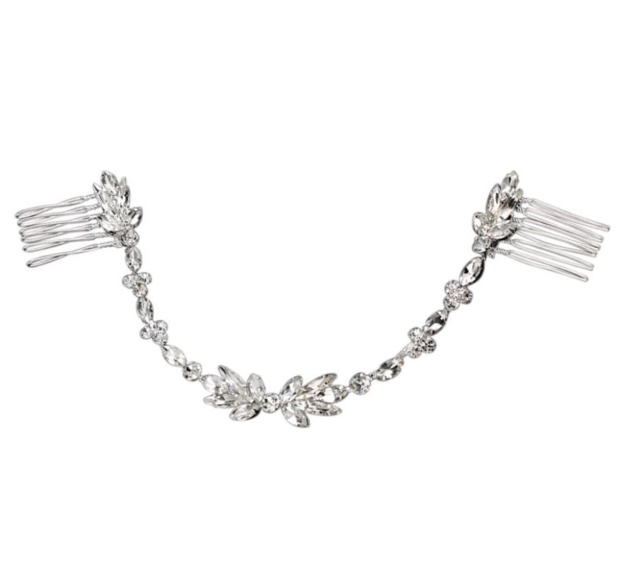 Marquise Crystal & Round Hair Vine/Comb
