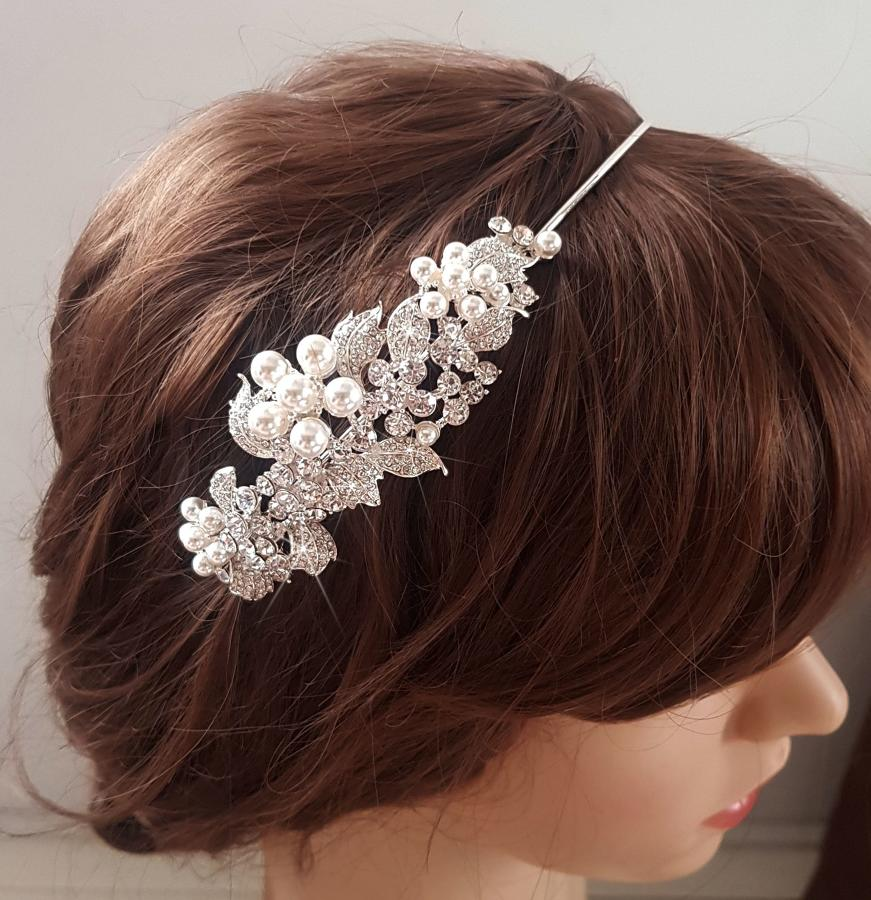 Pearl Flower Detail & Crystal Side Head Band