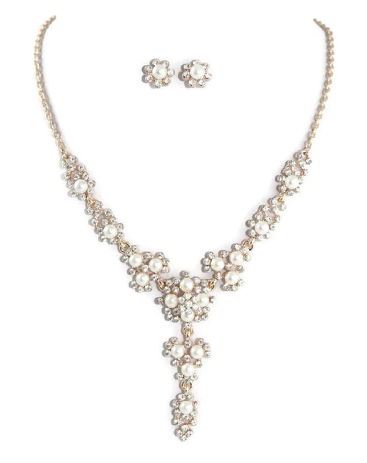Rose Gold Plated, Pearl & Crystal Floral Drop Necklace