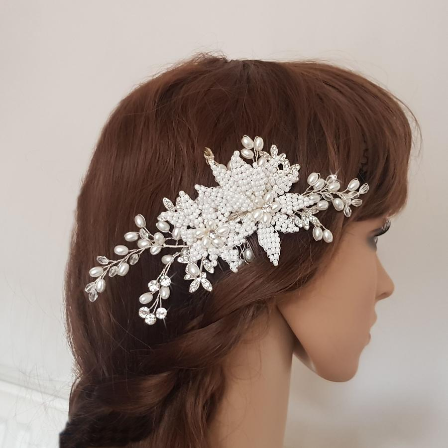 Eve Double Pearl Flower Hair Comb
