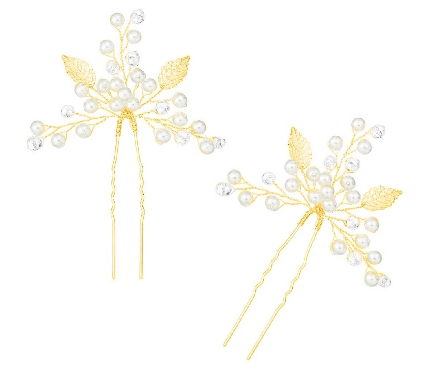 Gold Plated Leaf, Crystal & Pearl Pins