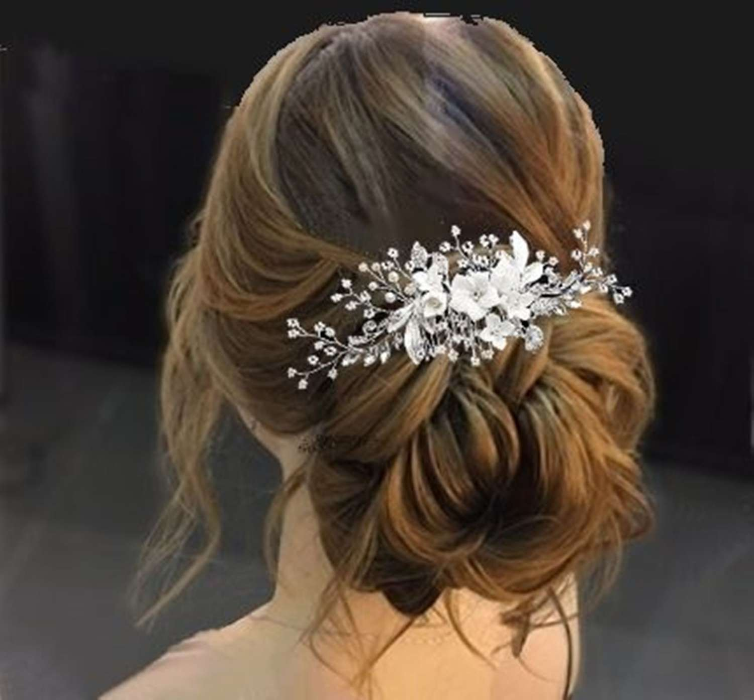 White flower & crystal leaf hair comb
