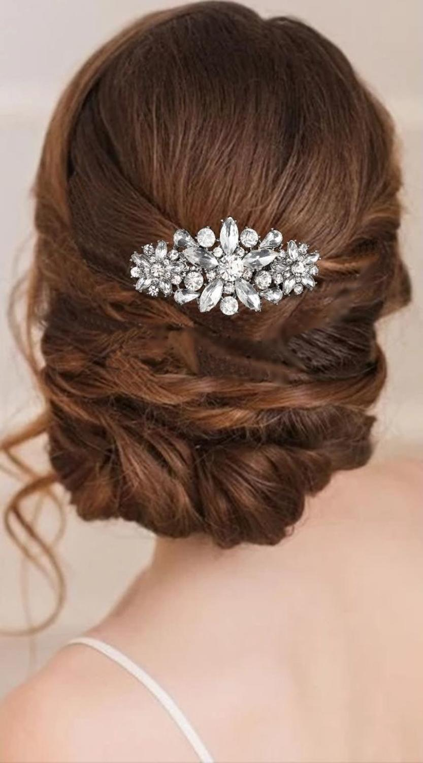 Crystal flower cluster hair comb