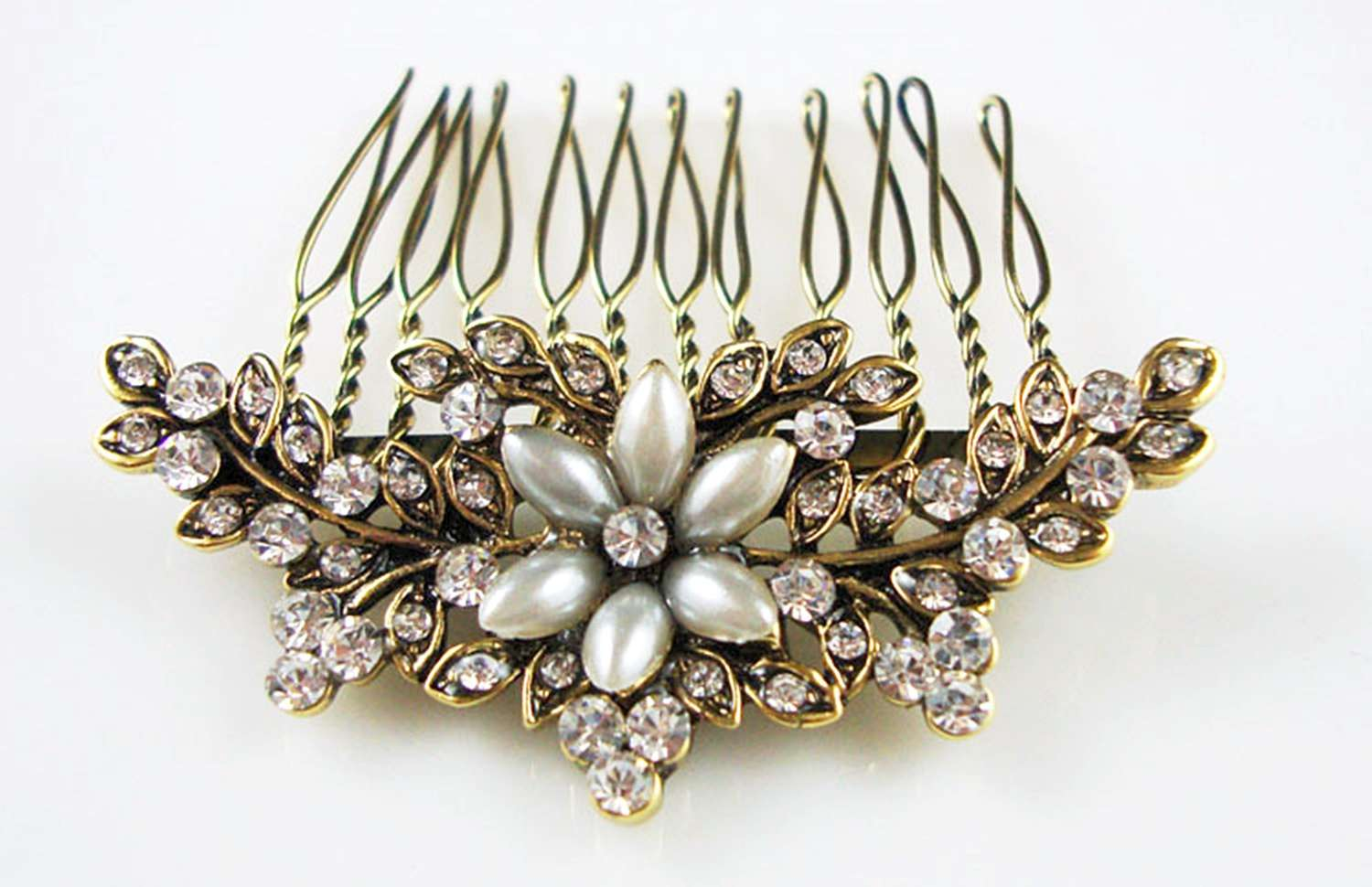 Antique Gold Colour Crystal & Pearl Flower Hair Comb