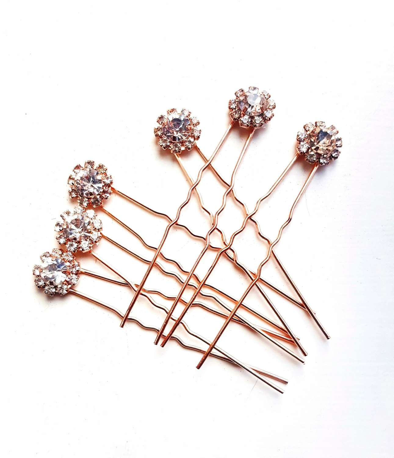 Rose Gold Plated Crystal Cluster Hair Pins
