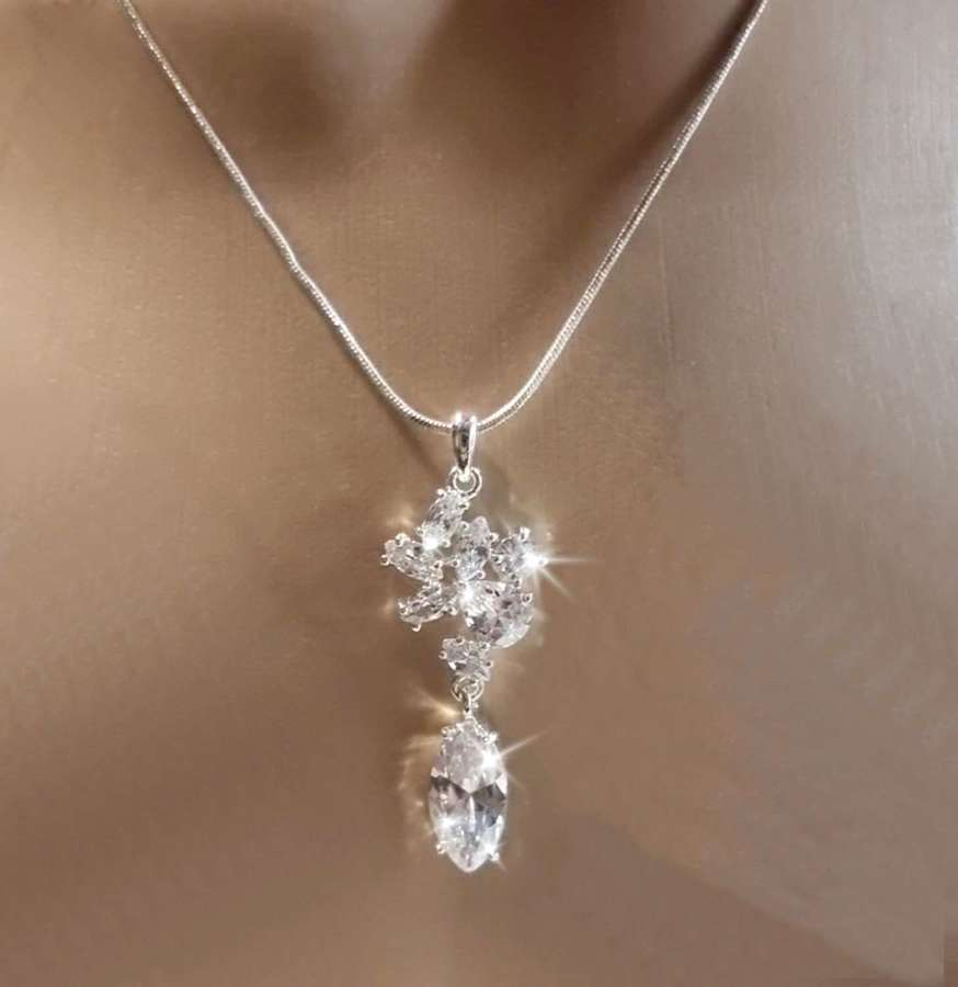 Crystal Marquise & Cluster Drop Pendant & Earrings