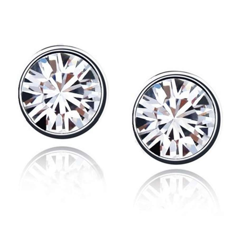 18ct White Gold Plated White Crystal Stud Earrings