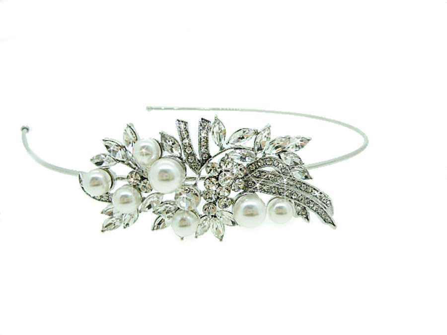 Chic Crystal & Pearl Side Head Band