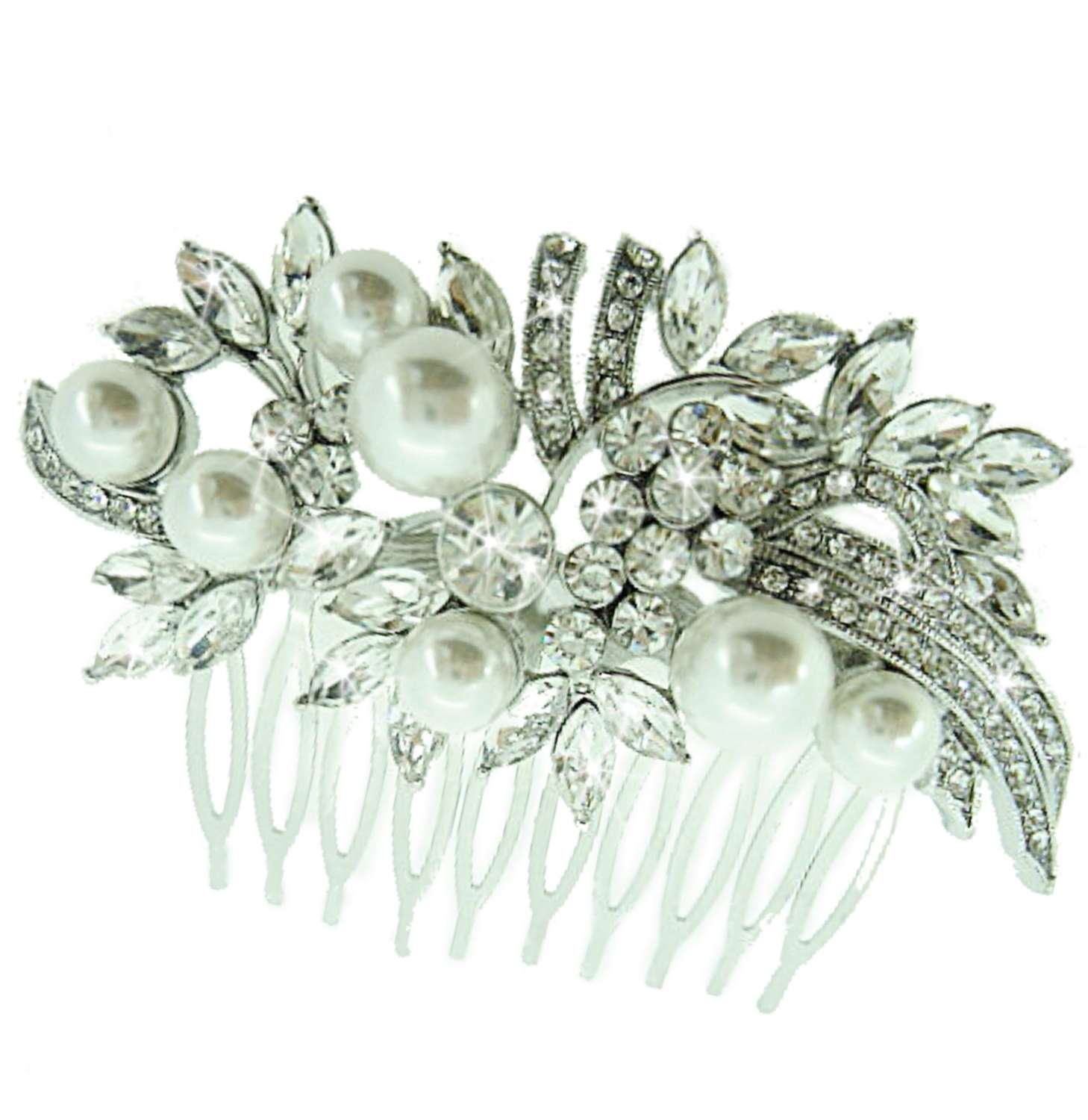Elegant Crystal & Simulated Pearl Hair Comb