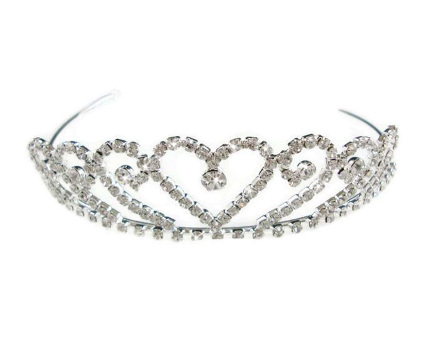 Silver Plated Crystal Heart Tiara