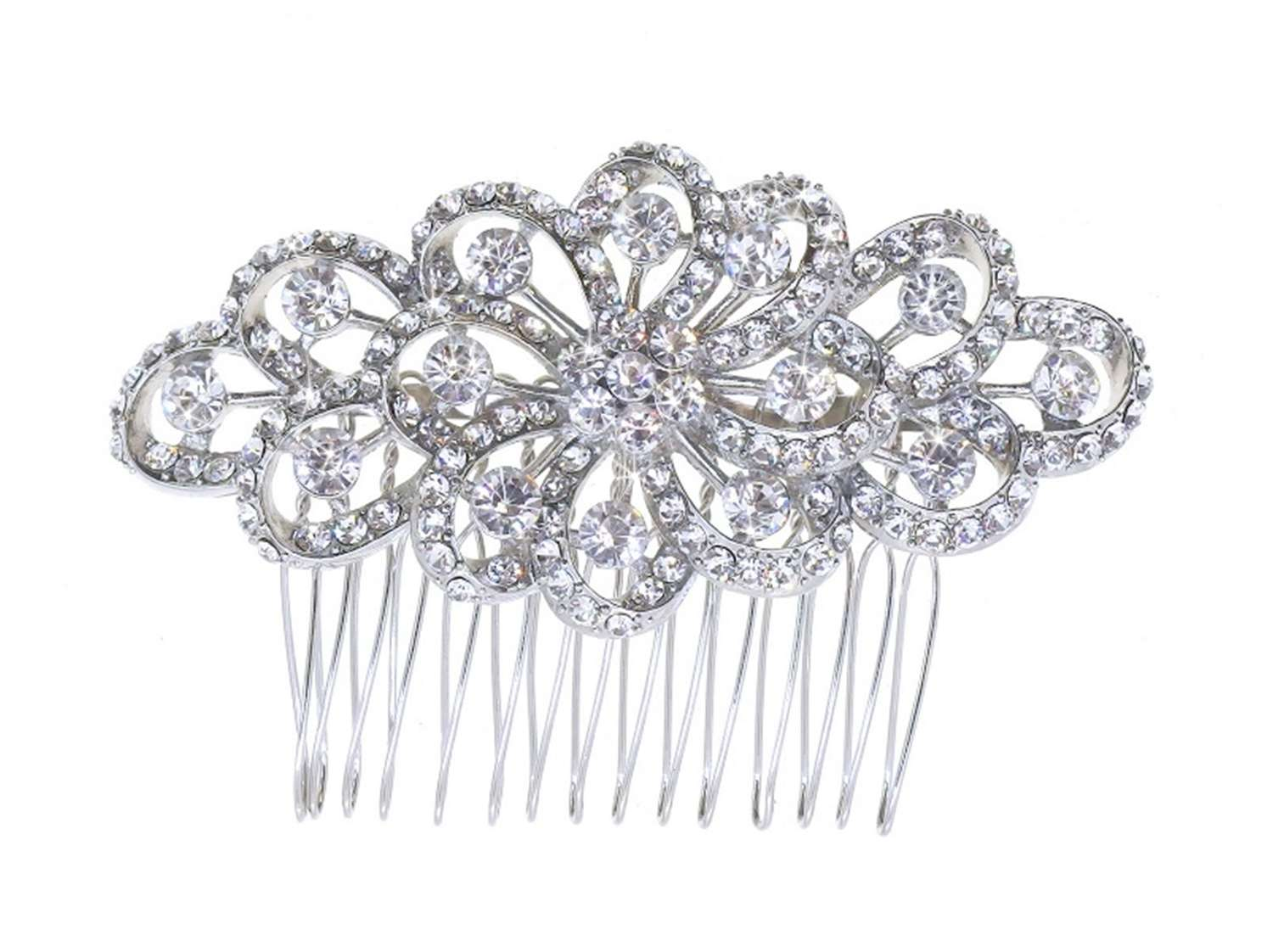 Crystal Exquisite Floral Loops Hair Comb