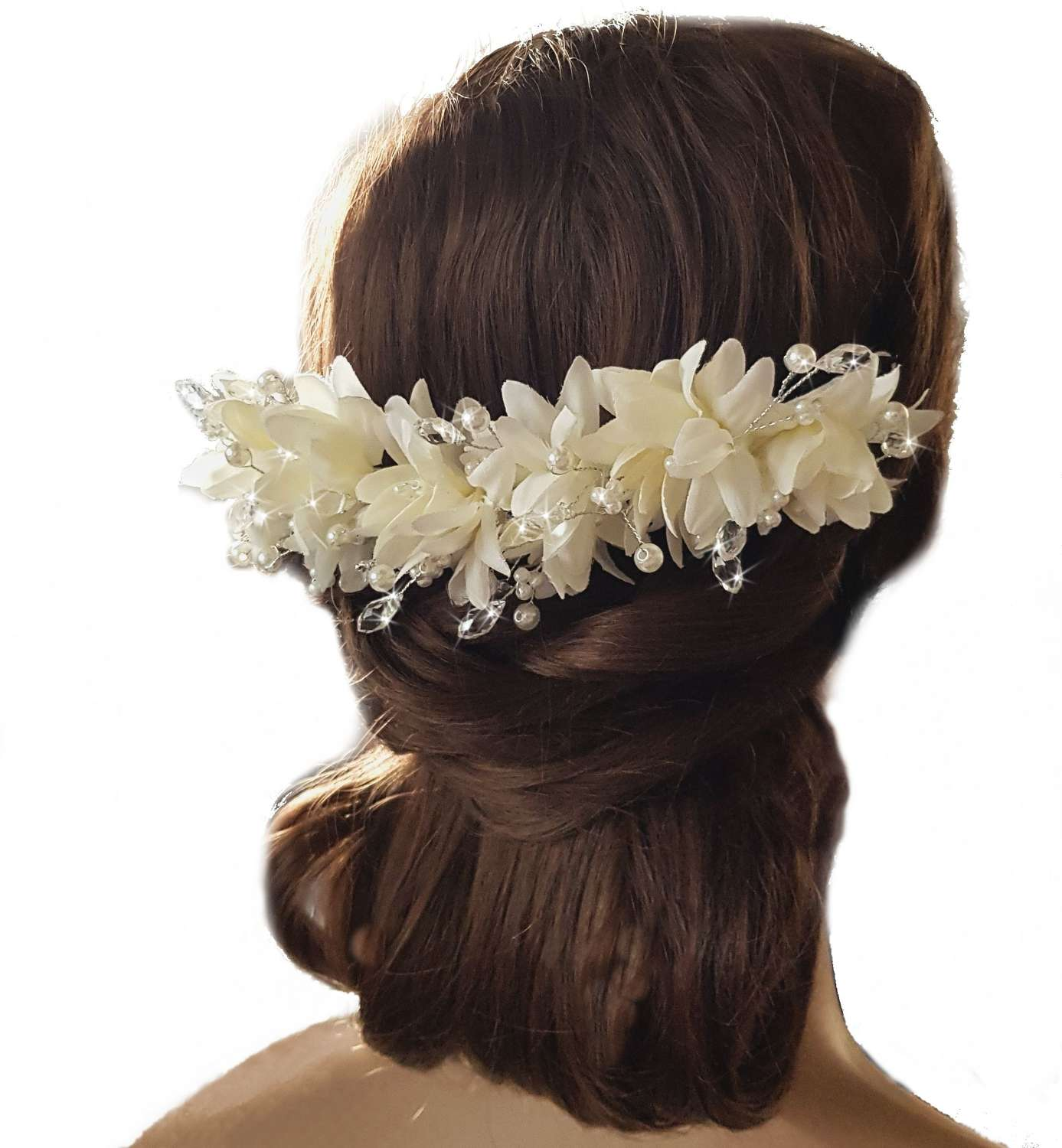 Ivory Flower, Crystal & Pearl Hair Piece