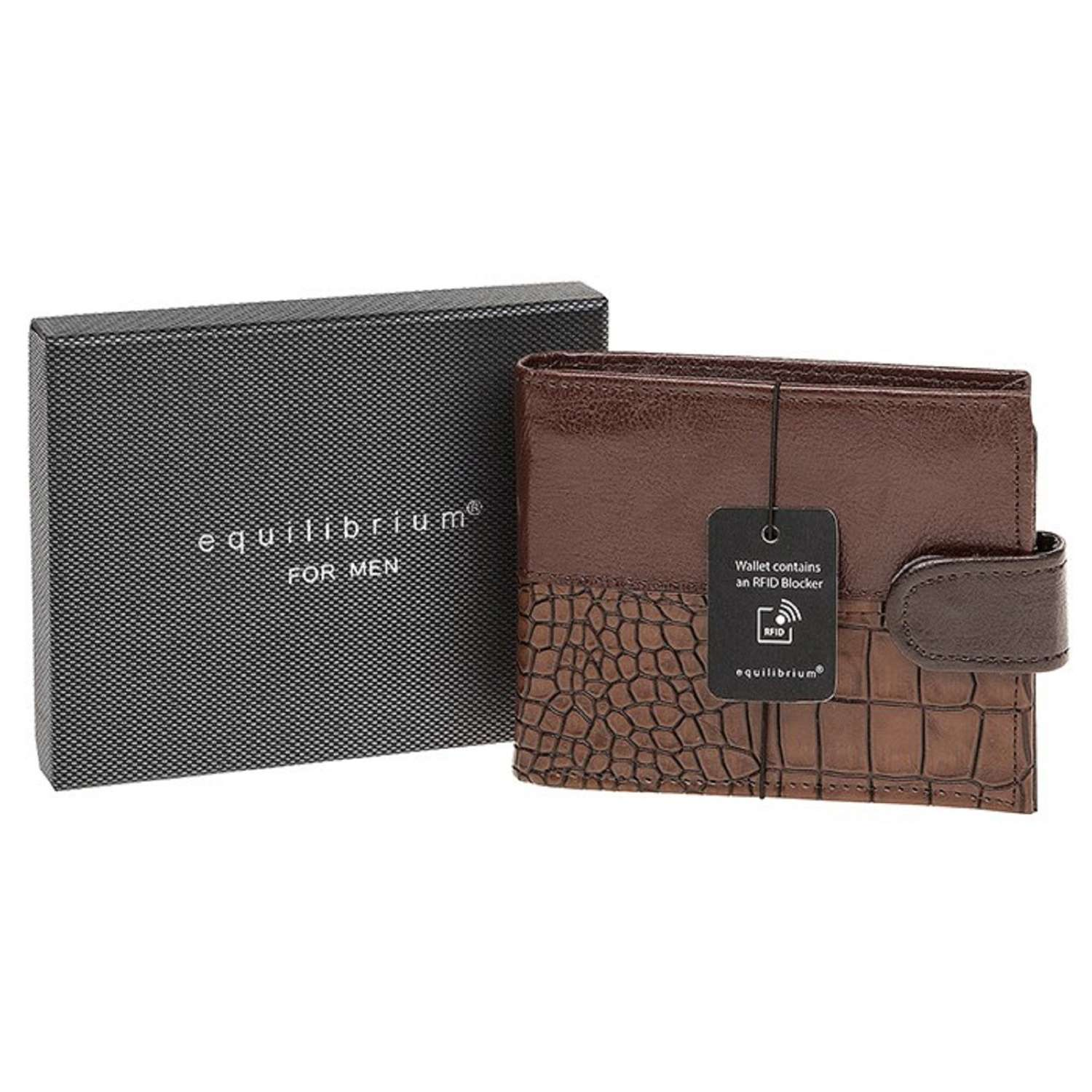 Brown Press Stud Wallet With RFID Blocker
