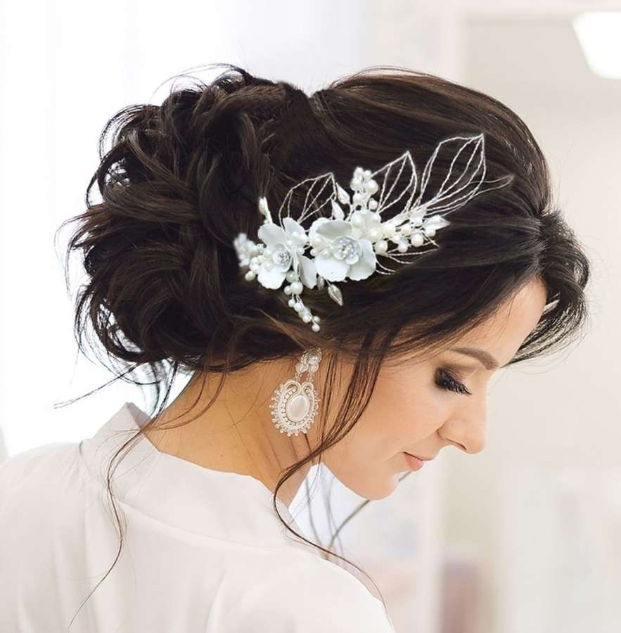 Floral & Pearl Leaf Hair Piece